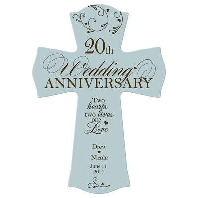 Personalized 20th Anniversary Engraved Wall Cross - One Love Blue