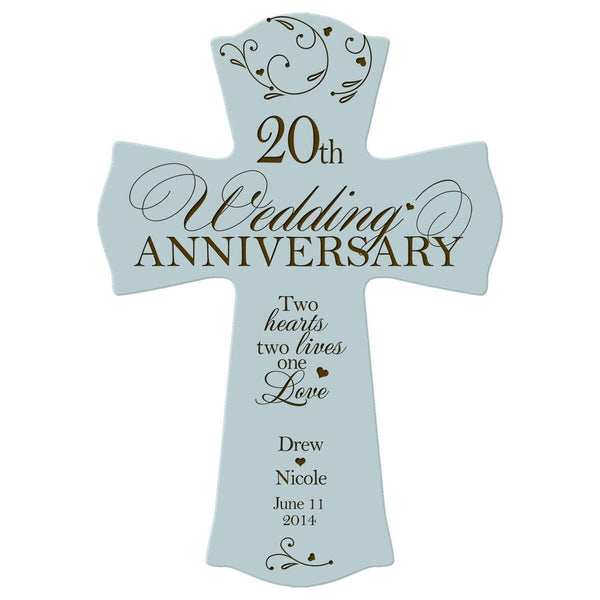 "Personalized 20th Wedding Anniversary Wood Wall Cross Gift for Couple 20 year Anniversary Gifts for Her, Anniversary Gifts for Him Two Hearts Two Lives One Love (8.5"" x 11"")"