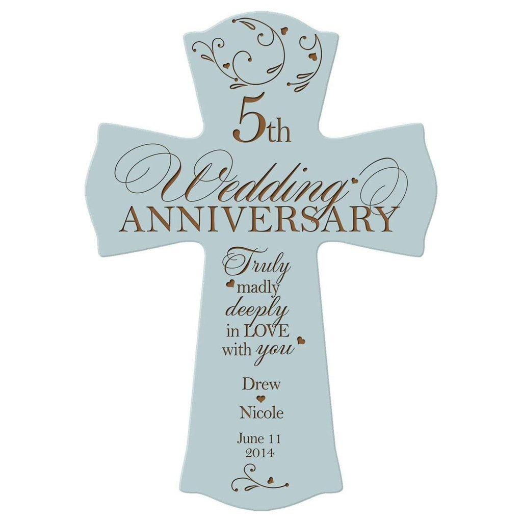 Personalized 5th Wedding Anniversary Wood Wall Cross Gift For Couple