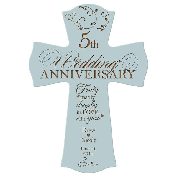 Personalized 5th Anniversary Engraved Wall Cross - Deeply In Love Blue