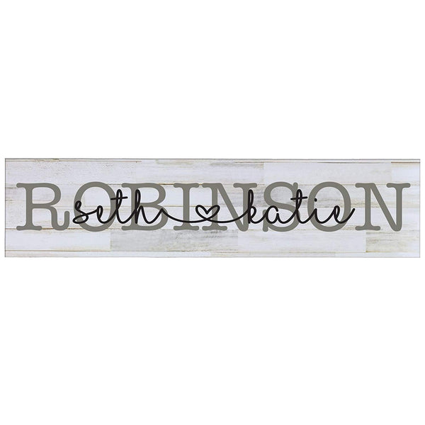 "LifeSong Milestones Last Name Couple Personalized Family Established Wall Signs, Last Name sign for home, Wedding, Anniversary, Living Room, Entryway 10"" H x 40"" L (Distressed White)"