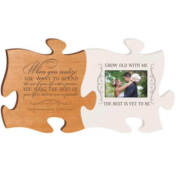 Personalized Wedding Picture Frame Puzzle Gift When You Realized You Want to Spend the Rest of Your Life & Grow Old with Me the Best Is Yet to Be Holds 4x6 Photo