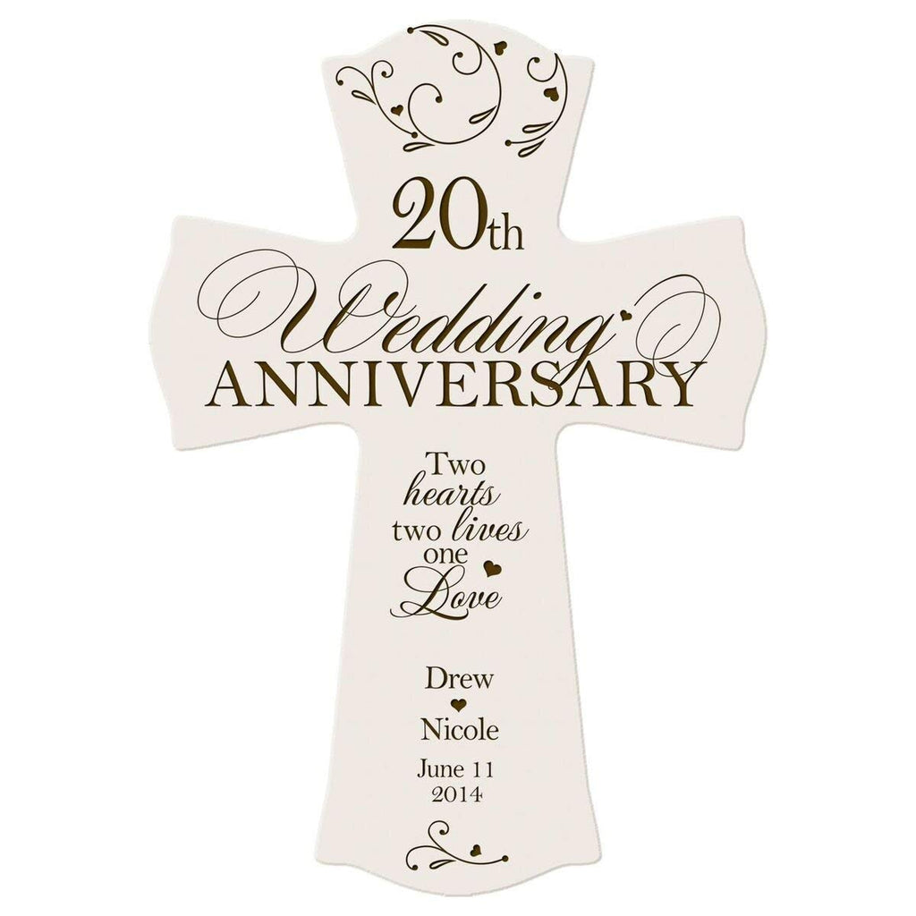Personalized 20th Wedding Anniversary Wood Wall Cross Gift For