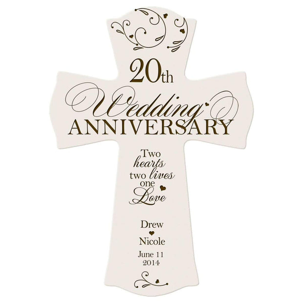 Personalized 20th Anniversary Engraved Wall Cross - One Love Ivory