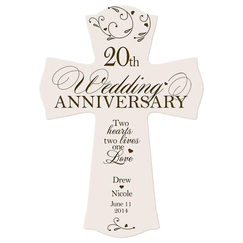 Personalized 20th Anniversary Engraved Wall Cross - One Love