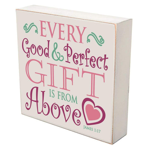 "Every good and perfect gifts is from above luke 1:17 Christian gifts for the home baptism christening Decorations (6""x6"") Every Good and Perfect Gift)"