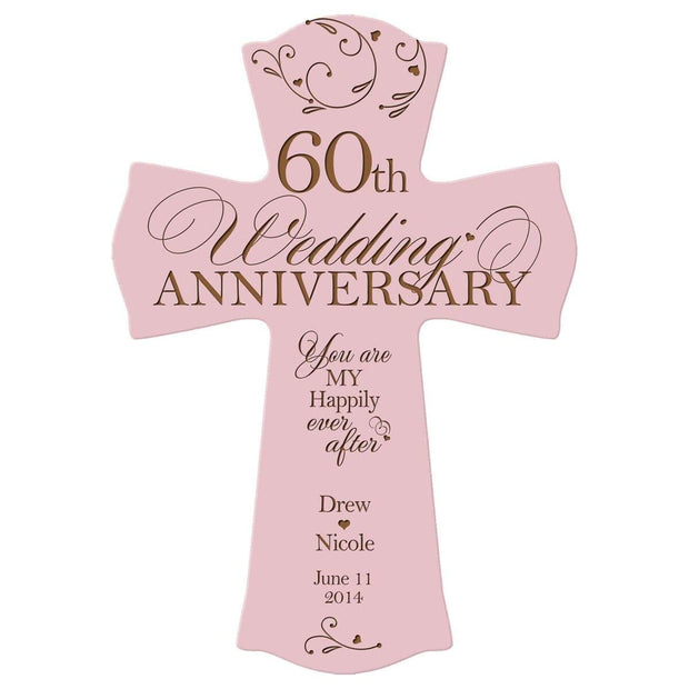 Personalized 60th Anniversary Veneer Wall Cross - Happily Ever After Pink