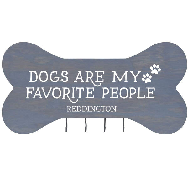"Personalized Dogs are my favorite people Wall Mounted Dog Bone Pet Leash Rack,Dog Collar Holder New Home Decor Gift ideas and 4 hooks 16"" L x 8"" H 2.5."" deep by Rooms Organized"