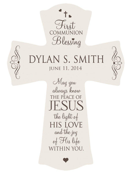 "First Communion Blessing Wood Cross - Personalized ""May You Always Know the Peace of Jesus"""