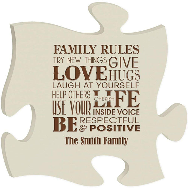 Personalized Family Rules, Puzzle Love give hugs Laugh at yourself, help other at be respectful be positive custom laser engraved with Name