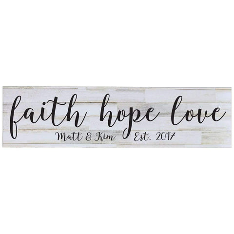 Personalized Home Decor Wall Plaques - Distressed White Faith Hope Love