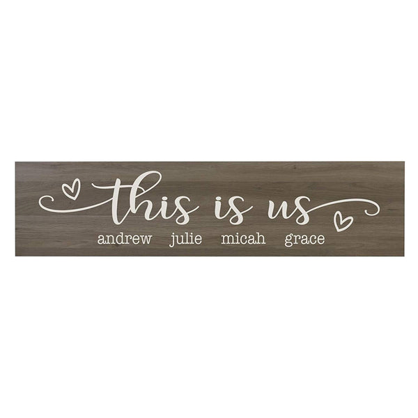 "LifeSong Milestones This Is Us Personalized Family Established Wall Signs, Last Name sign for home, Wedding, Anniversary, Living Room, Entryway 10"" H x 40"" L (Salt Oak)"
