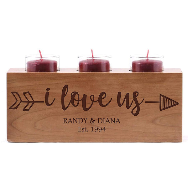 Engraved Cherry Candle Holder - I Love Us