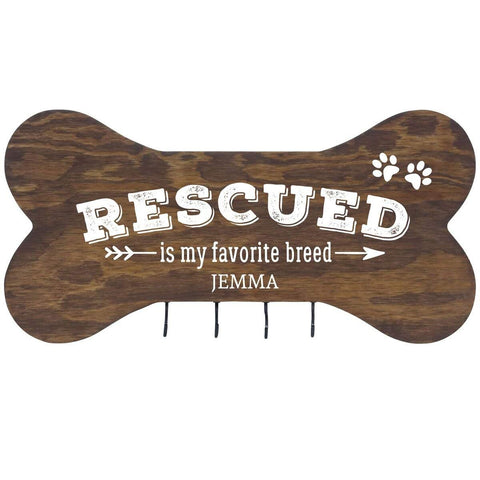 Personalized Dog Bone Sign With Hooks - Rescued Is My Favorite Walnut