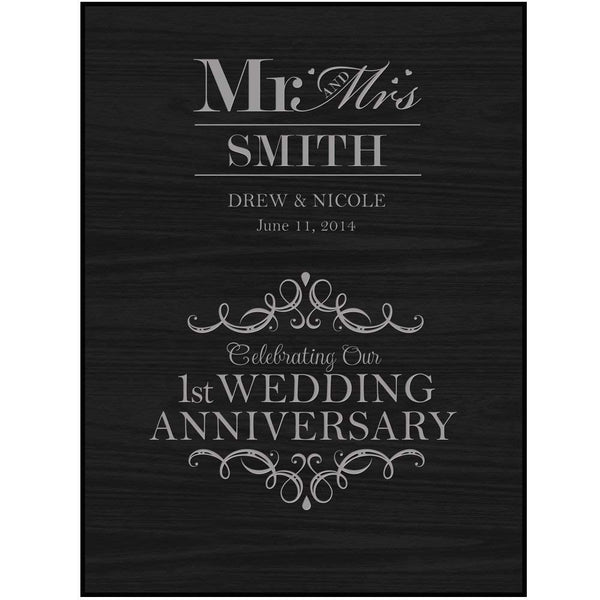 Personalized 1st Wedding Anniversary Mr. & Mrs. Black Wall Decor