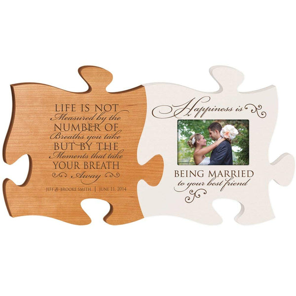 Personalized Wedding Picture Frame Puzzle Piece Set - Life Is Not Measured by the Number of Breaths You Take - Happiness is Being Married to Your Best Friend - Frame Holds 4x6 Photo by LifeSong Milestones