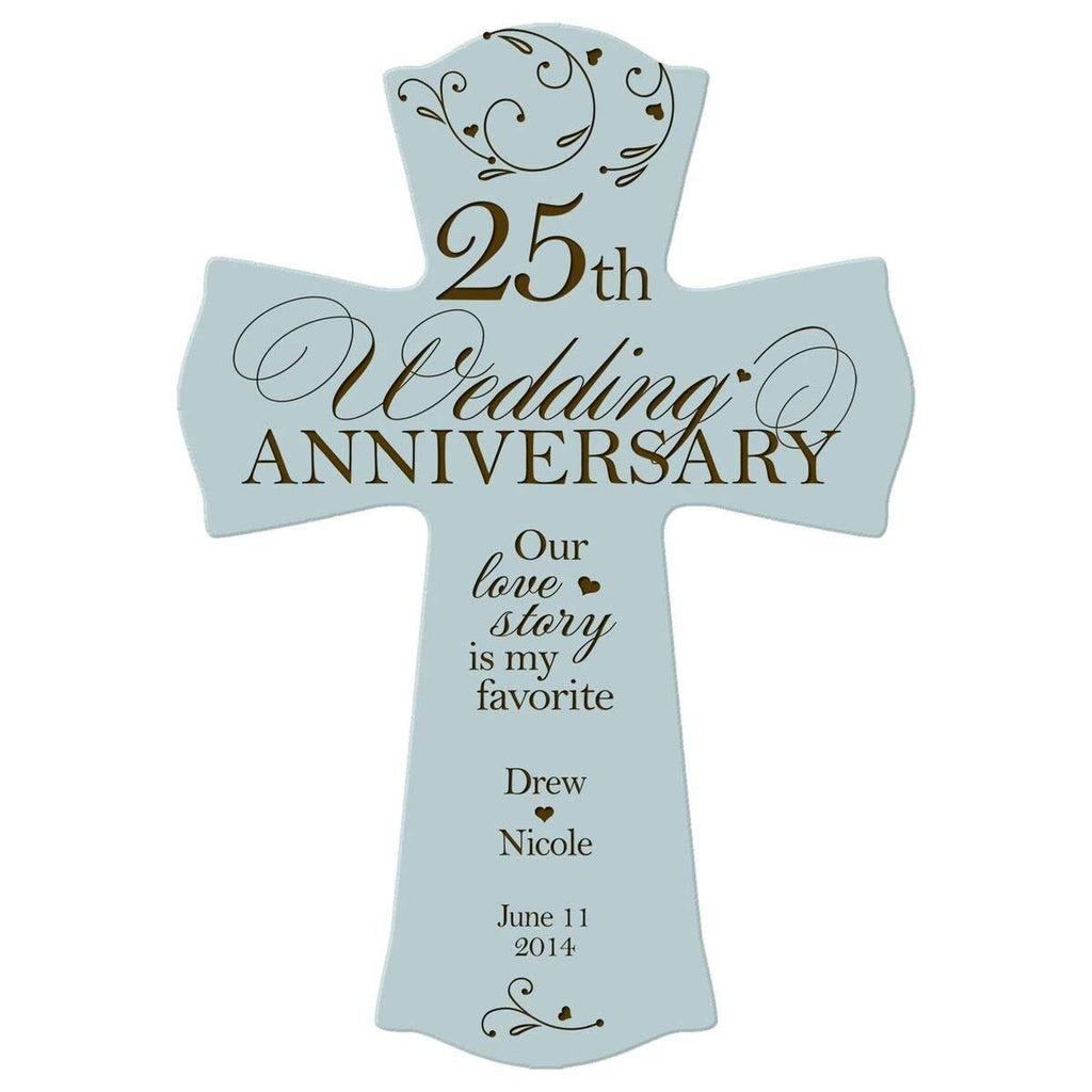 Personalized 25th Wedding Anniversary Wood Wall Cross Gift For
