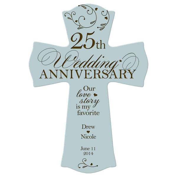 Personalized 25th Anniversary Engraved Wall Cross - Our Love Story Blue