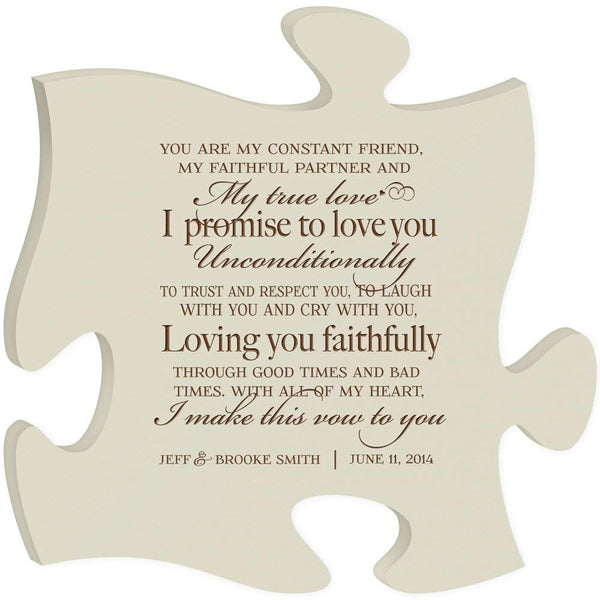 Personalized Wedding Gift Wall Art Puzzle Piece My True Love I promise to Love you Unconditionally