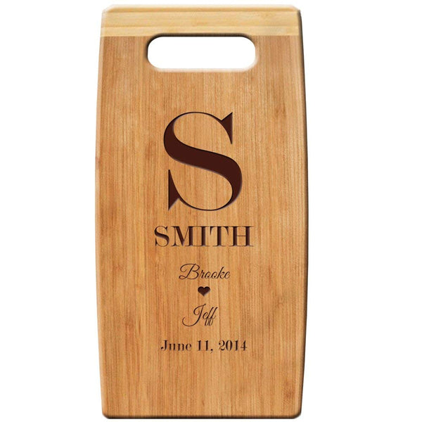 "Personalized Bamboo Cutting Board, Custom Engraved Monogram 7""x 14"" for Wedding Gift, Anniversary Gift and Housewarming gift"