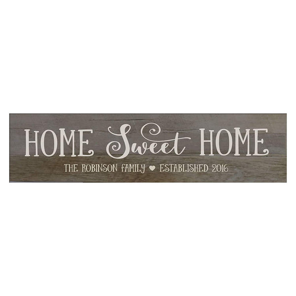 "LifeSong Milestones Home Sweet Home Personalized Family Established Wall Signs, Last Name sign for home, Wedding, Anniversary, Living Room, Entryway 10"" H x 40"" L (Barnwood)"