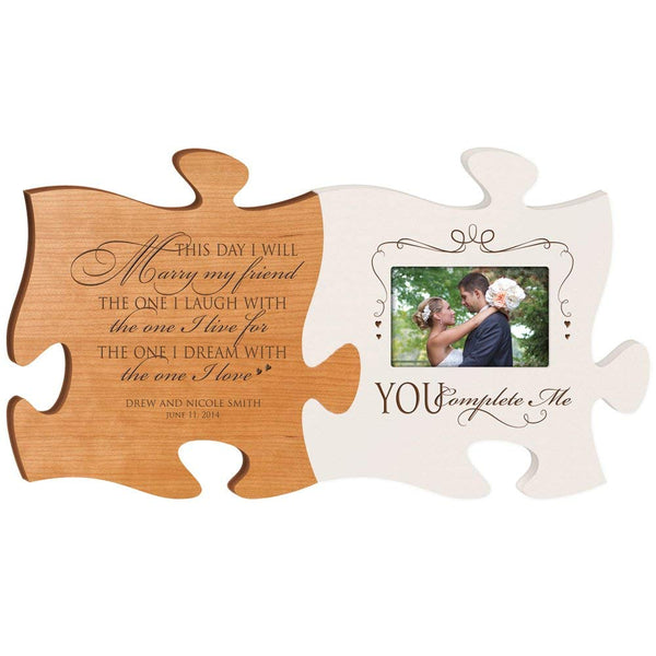 Personalized Wedding Picture Frame Puzzle Piece Sign Set - This Day I Will Marry My Friend - You Complete Me - Holds 4x6 Photo by LifeSong Milestones