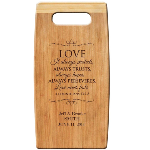 "Personalized Bamboo Cutting Coard, Custom Engraved "" Love It Always Protects "" 7""x 14"" for Wedding Gift, Anniversary Gift,"