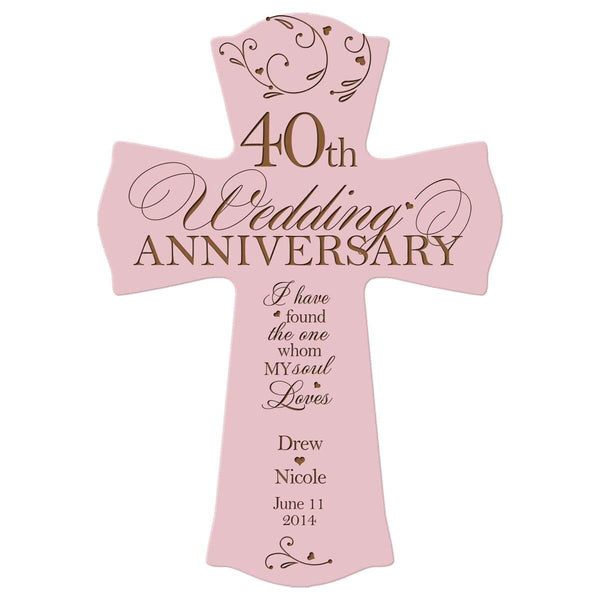 Personalized 40th Anniversary Veneer Wall Cross - My Soul Loves Pink
