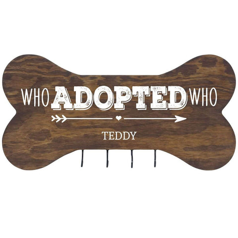 Personalized Dog Bone Sign With Hooks - Who Adopted Who Walnut