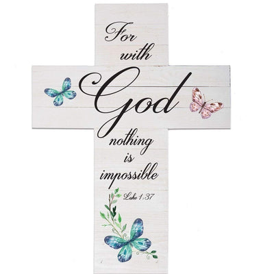 Pine Wood Digitally Printed Wall Decor Cross - For With God