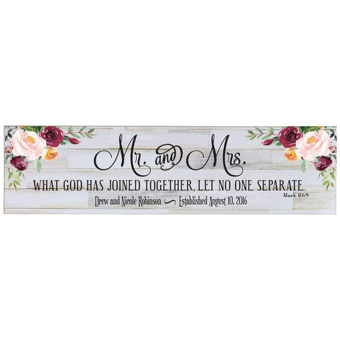 Personalized Home Decor Wall Plaques - Distressed White Mr And Mrs