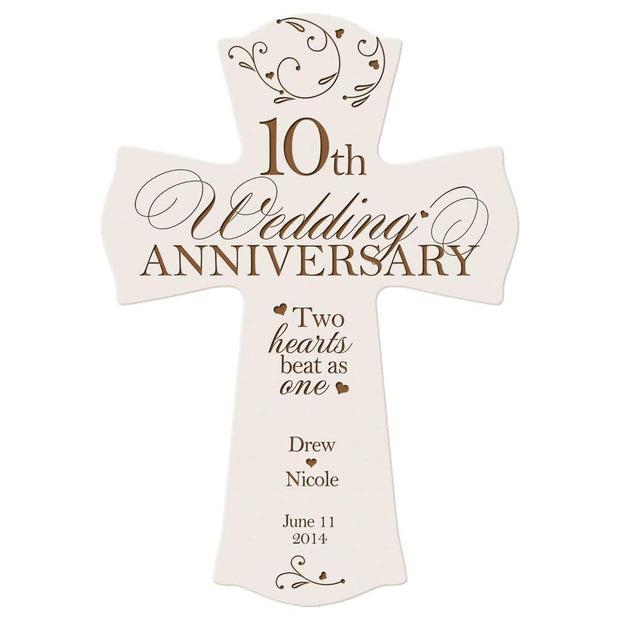 Personalized 10th Anniversary Engraved Wall Cross - Two Hearts Beat White
