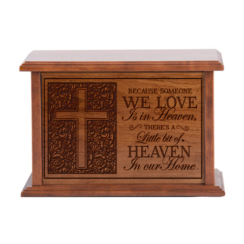 Engraved Cherry Wood Cremation Urn - Someone We Love In Heaven 10.5x7.5