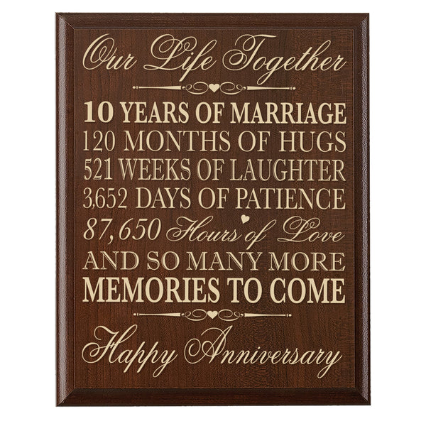 10th Wedding Anniversary Wall Plaque - Our Life Together - 12x15
