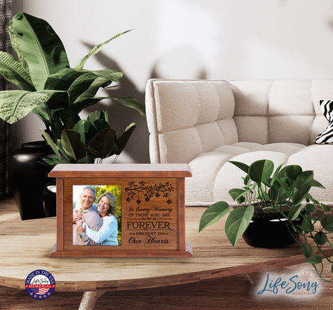 Custom Wooden Cremation Urn with Picture Frame holds 4x5 photo - In Loving Memory (Branch)