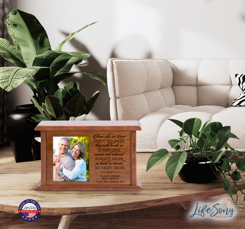 LifeSong Milestones Personalized Cremation Urn for Adult Humans With 4x5 Photo Medium Cherry Finish Wooden Adult Urns For Human Ashes - 10.5 x 7.5 x 6.5