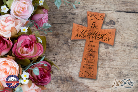 5th Anniversary Wall Cross Gift for Couple