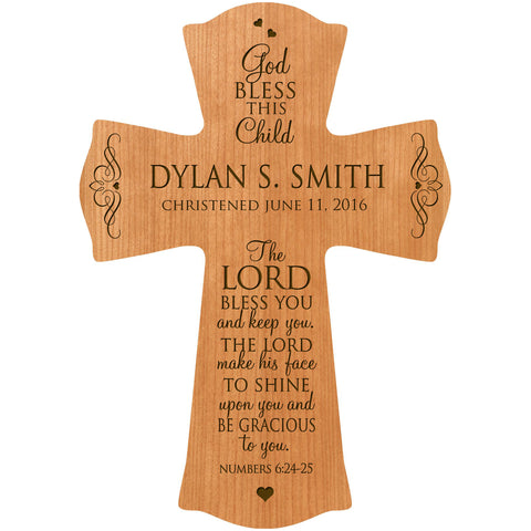 "Personalized Baptism 1st communion cross ""The Lord Bless You"""