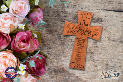 Personalized 15th Wedding Anniversary Cherry Wall Cross Ups and Downs