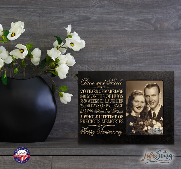 Personalized 70th Anniversary Photo Frame - Happy Anniversary Black