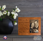 Personalized 70th Anniversary Photo Frame - Happy Anniversary Cherry