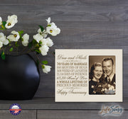 Personalized 70th Anniversary Photo Frame - Happy Anniversary Ivory