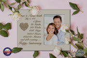 Personalized 5th Anniversary Photo Frame - Happy Anniversary Ivory