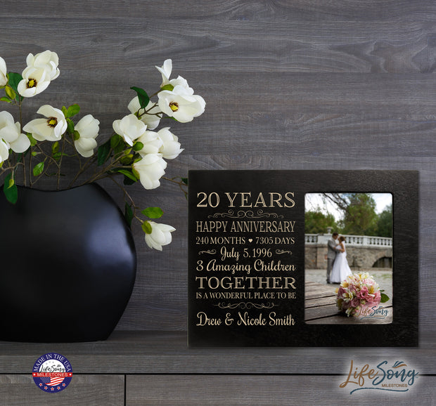Personalized 20th Year Anniversary Photo Frame - Counting Our Blessings Black