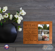 Personalized 20th Year Anniversary Photo Frame - Counting Our Blessings Cherry