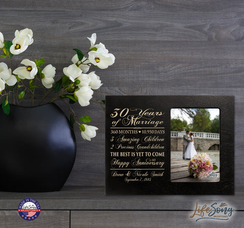 Personalized 30th Anniversary Photo Frame - Together Forever Black
