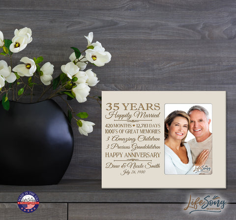 Personalized 35th Year Anniversary Photo Frame - Counting Our Blessings Ivory