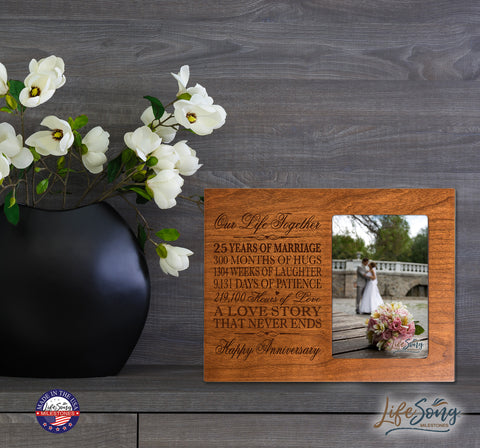 25th Anniversary Photo Frame - Our Life Together Cherry