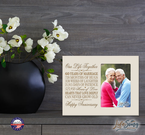 60th Anniversary Photo Frame - Our Life Together Ivory