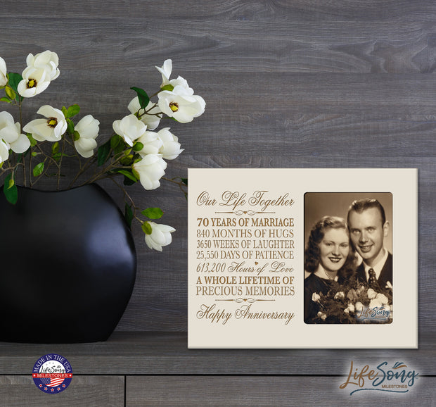 70th Anniversary Photo Frame - Our Life Together Ivory